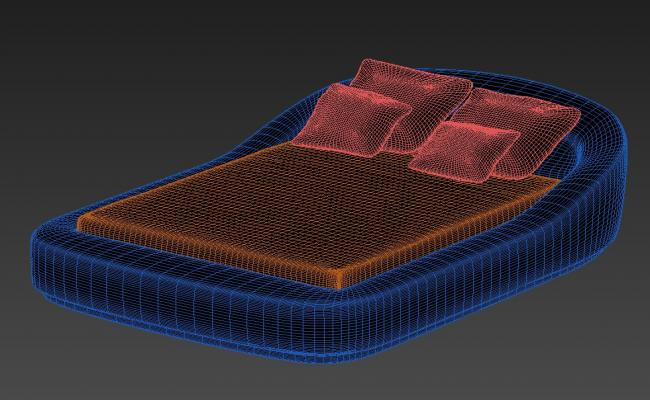 3D Air Bed With Mattress Isometric Elevation MAX File