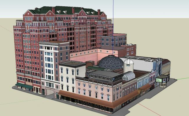 3D Architecture High Rise Commercial Building Design SKP File