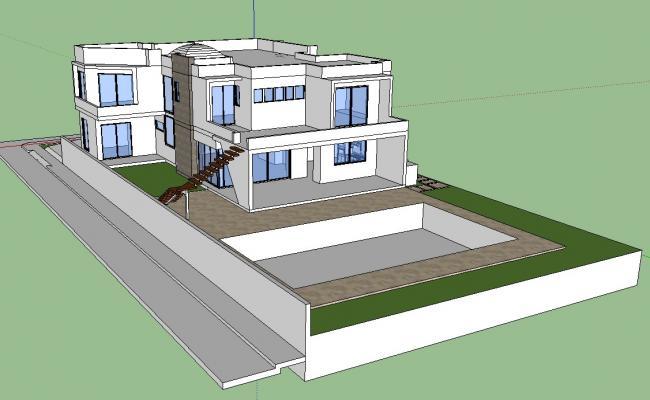 3D Architecture Modern Bungalow Design Sketch Up File