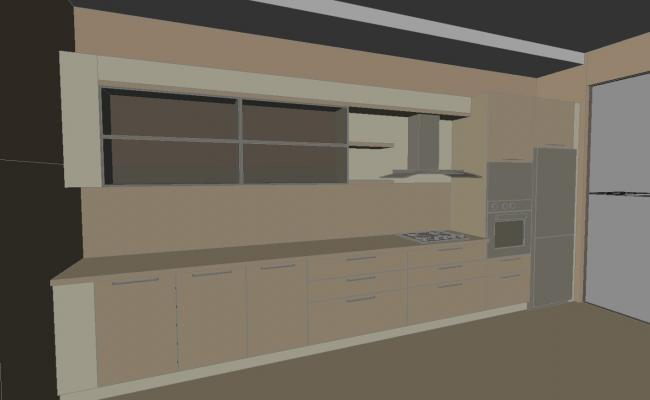 3D AutoCAD Drawing Of Kitchen With Basic Rendered DWG File Free Download