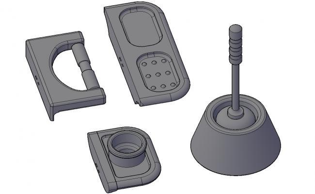 3D Bathroom Hardware CAD Blocks Isometric Design Download Free DWG File