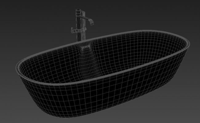 3D Bathtub With Water Tap MAX File