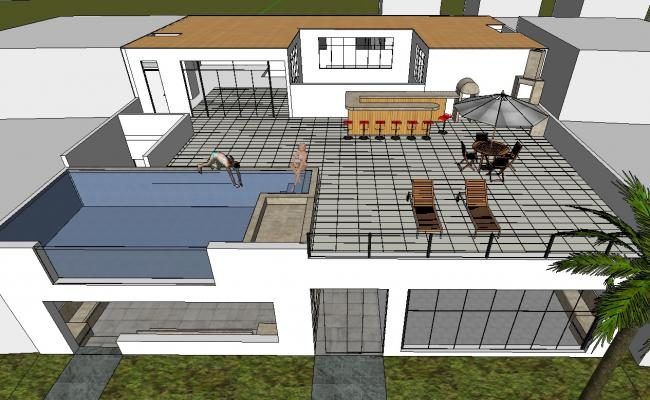 3D Beach House With Swimming Pool Design Sketch Up File