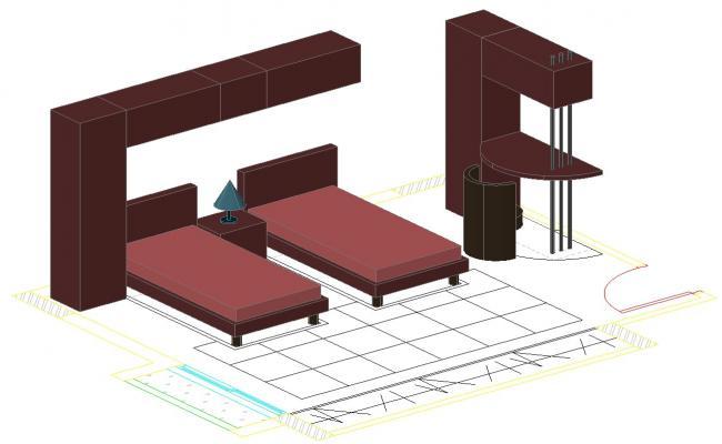 3D Bedroom AutoCAD File