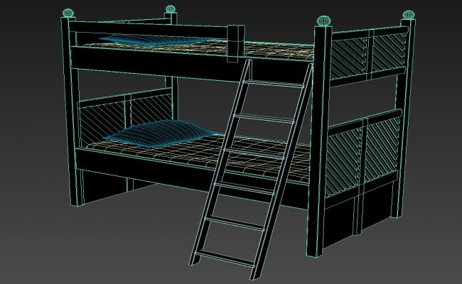 3D Bunk Bed For Kids MAX File