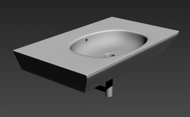 3D Ceramic Wash Basin MAX File
