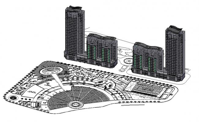 3D Commercial Building Layout Plan