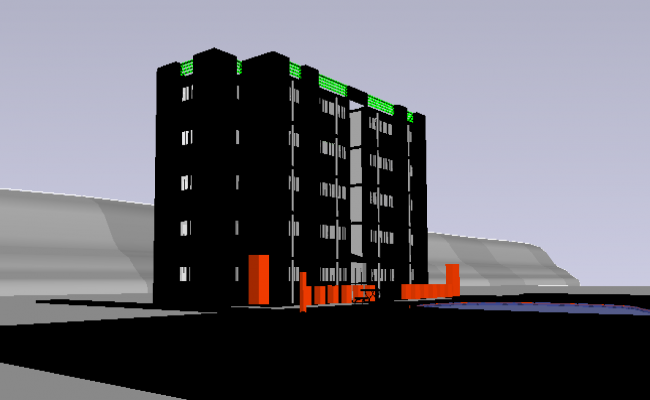 3D Design and Elevation of Residential Building dwg file