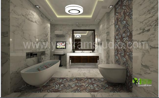 3D Design of Bathroom Elevation dwg file