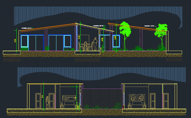 3D Design of Bungalow Elevation dwg file