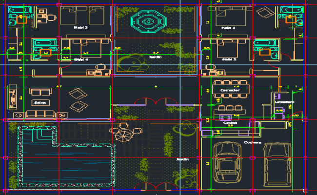 3D Design of Bungalow Structure dwg file