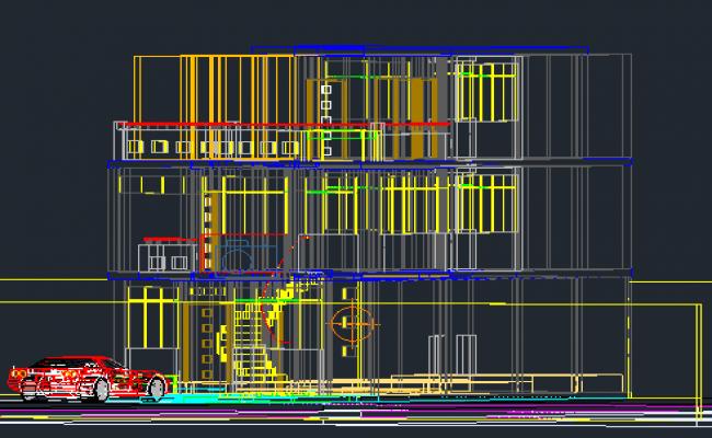3D Design of Multi-Flooring House Elevation dwg file