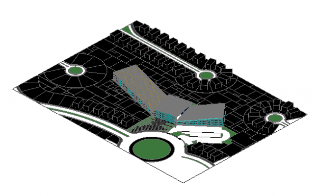 3D Design of Site Plan of Club House dwg file