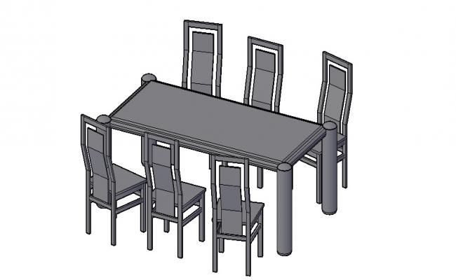 3D Dining Table In AutoCAD File