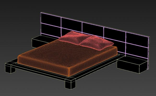 3D Double Bed Head Back Rest MAX File