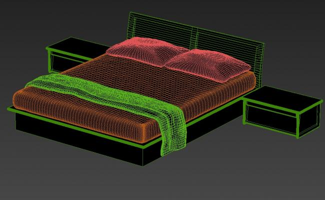 3D Double Bed With Backrest And Side Table Design MAX File
