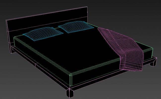 3D Double Bed With Mattress MAX File