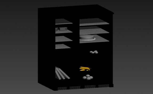 3D Double Door Refrigerator MAX File