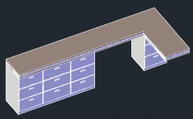 3D Fixed desk design drawing