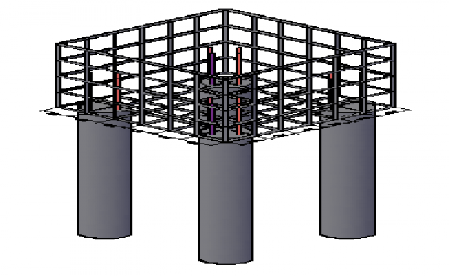3D Foundation block design drawing