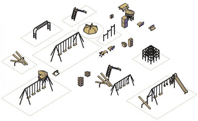 3D Garden Play Equipment DWG File