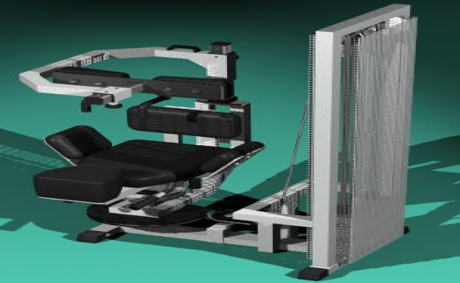 3D Gym equipment machines with pulleys design drawing
