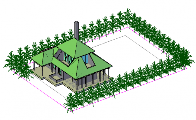 3D House design drawing with Roof trust design