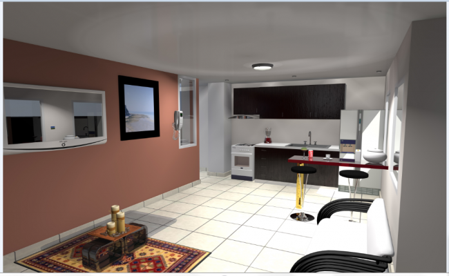 3D Interior design drawing of residence