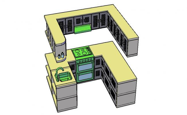 3D Kitchen Drawing In AutoCAD File