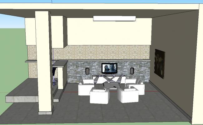 3D Living Room Interior Design Sketch UP File