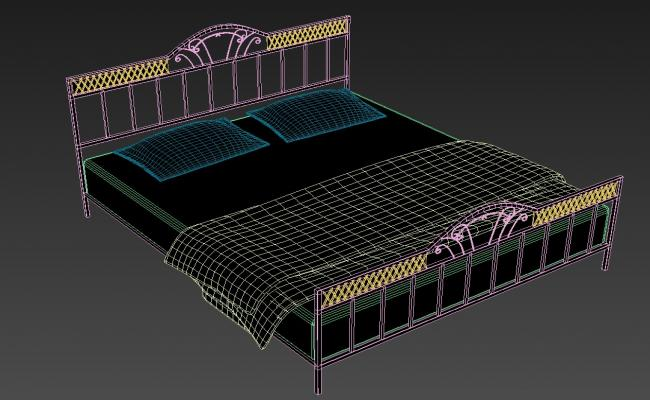3D MS Double Bed MAX File Isometric Elevation Design