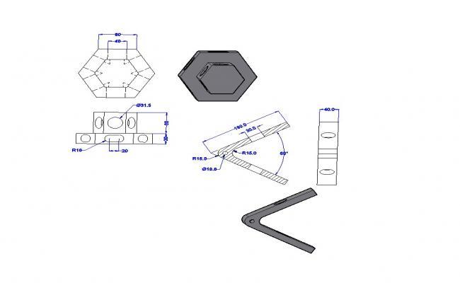 3D Medium Welded Steel Bracket CAD Blocks