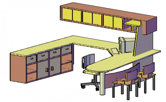 3D Melamine officer desktop design drawing
