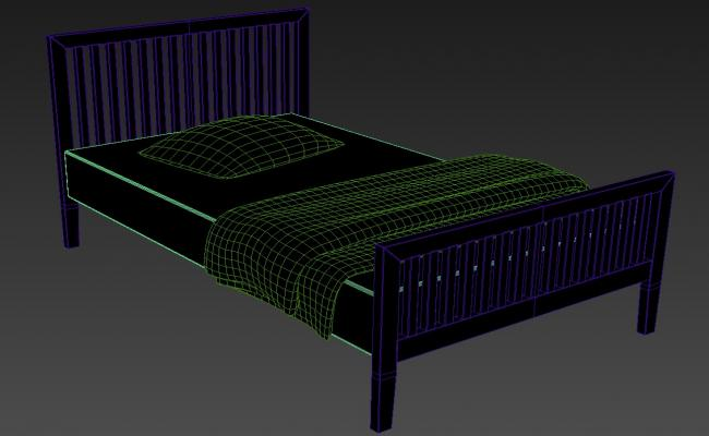 3D Mild Steel Single Bed Isometric Elevation Design