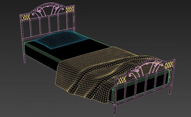 3D Mild Steel Single Bed With Mattress MAX File