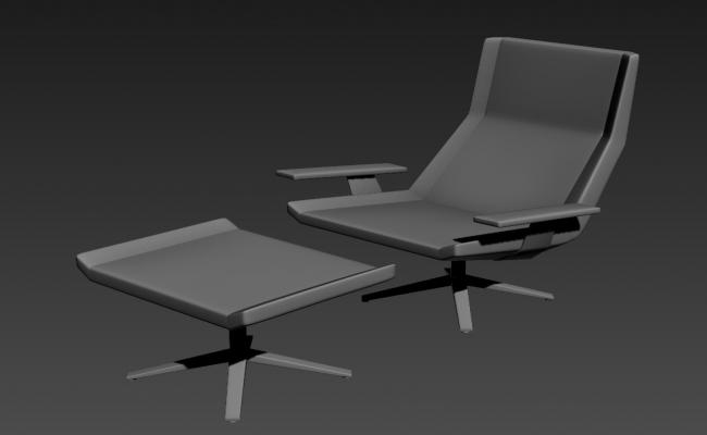 3D Model Of Chair And Table Isometric Elevation Design DWG File