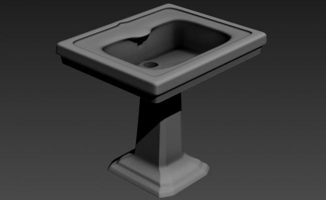 3D Model Of Pedestal Wash Basin MAX File