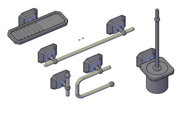 3D Model Of Wall Mounted Towel Holder Isometric Design DWG File