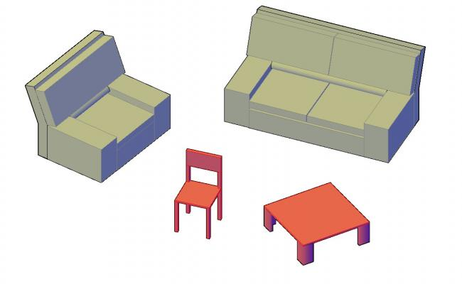 3D Model One And Two Seater Simple Sofa Design AutoCAD File