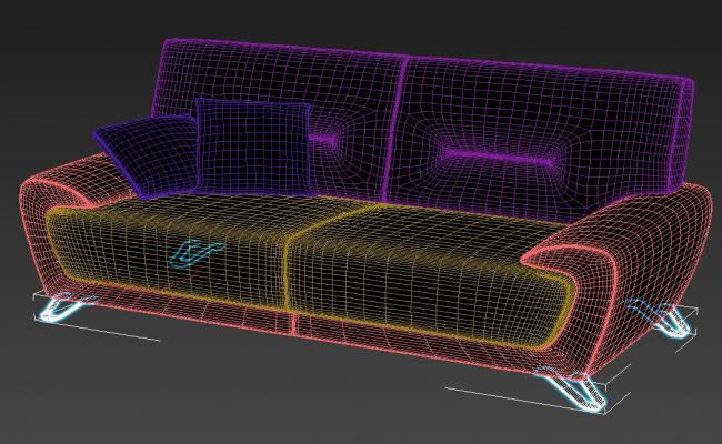 3D Model Two Seater Sofa With Heavy Handrest Rendered Drawing