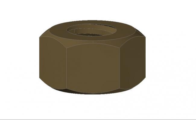 3D Nut Block In AutoCAD File