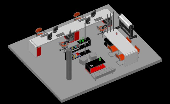 3D Office Design in cad File