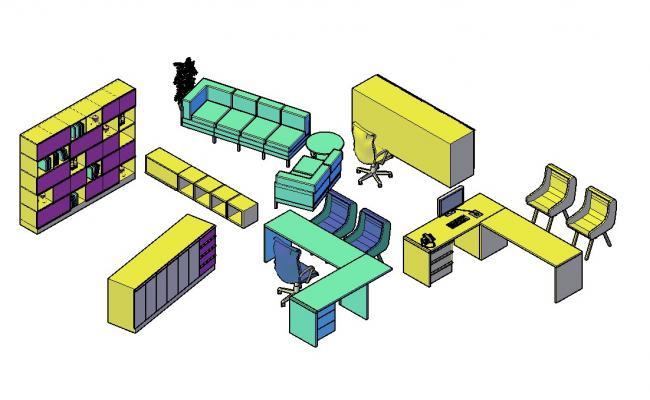 3D Office Furniture Blocks
