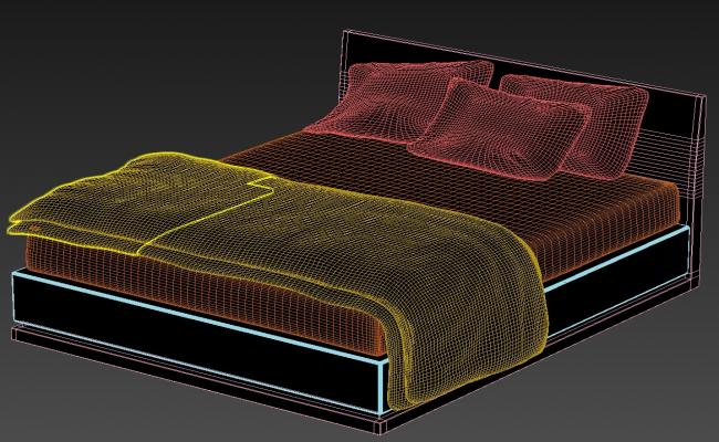3D Queen Size Double Bed with Storage MAX File
