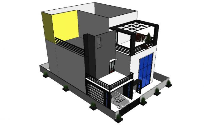 3D Ravit Drawing of Bungalow Elevation With Basic Rendered