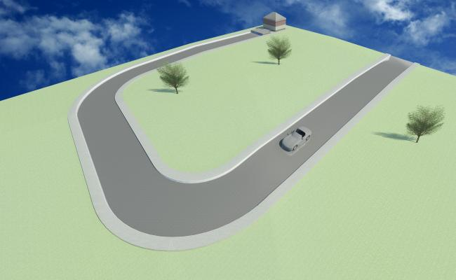 3D Road with Path way