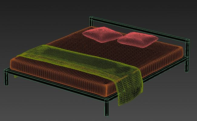 3D Simple Double Bed Isometric Elevation Design