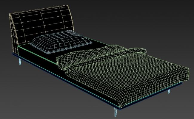 3D Single Bed With Soft Backrest MAX File