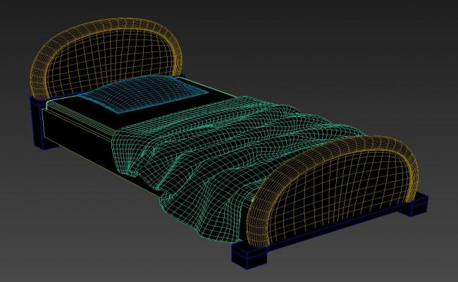 3D Single King Style Bed With Storage MAX File