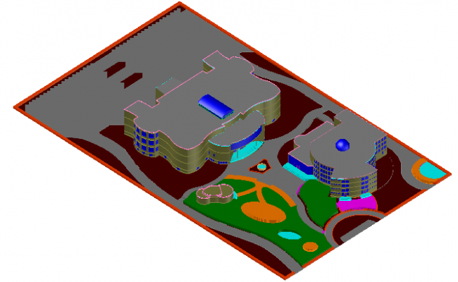 3D Site Plan Design of Scientific Center Architecture Plan dwg file